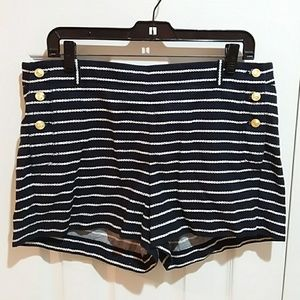 J. Crew Striped Navy Nautical Shorts Sz 12